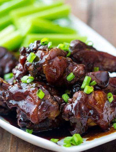 Slow Cooker Honey Garlic Chicken Wings | AllFreeSlowCookerRecipes.com