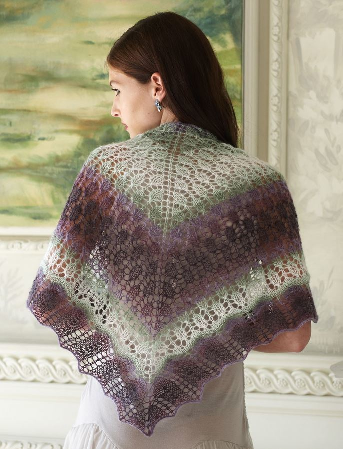 Free Crochet Patterns Using Patons Lace Yarn : Evening Shadows Shawl AllFreeKnitting.com