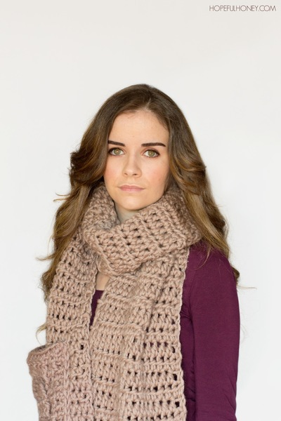 Free Crochet Pattern Pocket Scarf : Oversized Pocket Scarf Free Crochet Pattern FaveCrafts.com