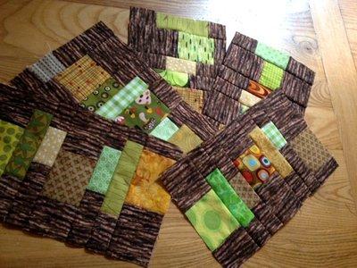 Staggered Strips Scrap Quilt Blocks