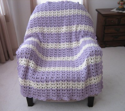 Lacy Open Shell Crochet Afghan