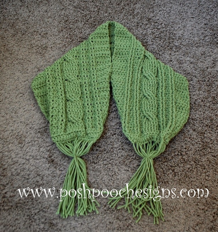 Crochet Cable Stitch Scarf Pattern