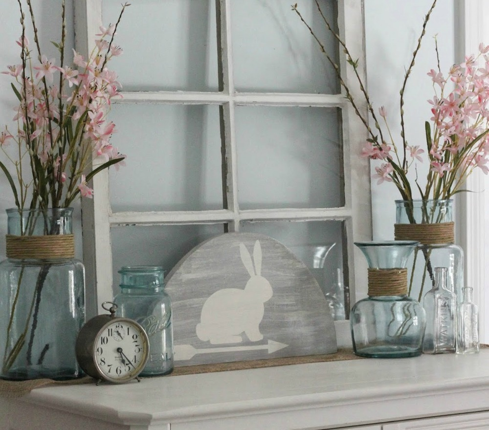 Rustic bunny easter decoration for Rabbit decorations home