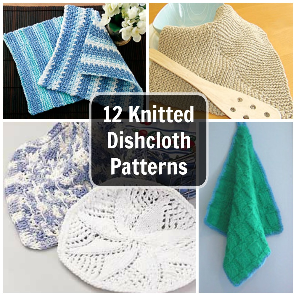 Easy Knitted Dishcloth Pattern : 12 Knitted Dishcloth Patterns: Easy Knitting Patterns for the Kitchen FaveC...