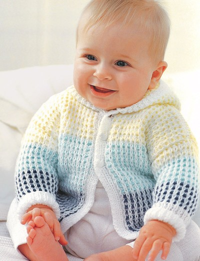 Hoodie Knitting Pattern For Babies And Toddlers : Spring Morning Baby Cardigan AllFreeKnitting.com