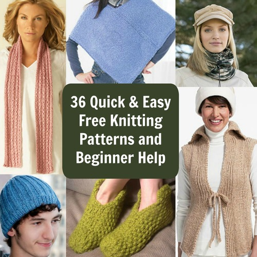 36 Quick and Easy Free Knitting Patterns and Beginner Help