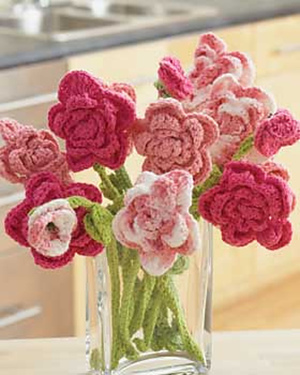 Pink Rose Bouquet Crochet Flowers Pattern