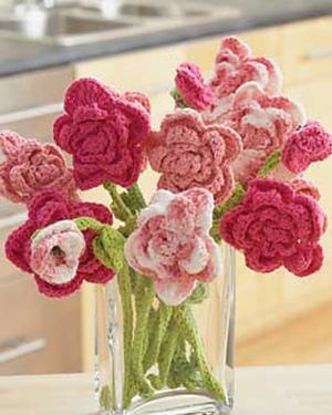 Pink Rose Bouquet Crochet Flowers Pattern
