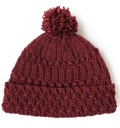 Marsala Pom Pom Knit Hat Pattern AllFreeKnitting.com