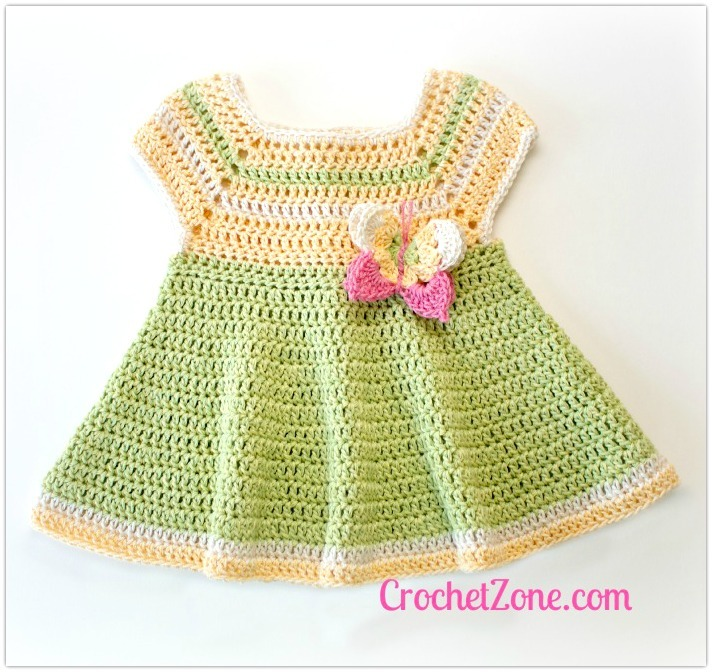How To Crochet Baby Dress Pattern : Butterfly Kisses Baby Dress AllFreeCrochet.com