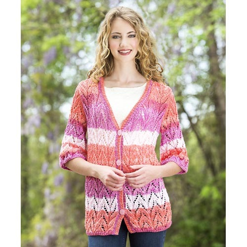 Free Lace Knitting Patterns For Cardigans : Adventures in Lace Knit Cardigan AllFreeKnitting.com