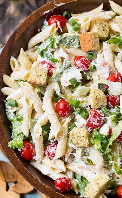 caesar pasta salad has all the flavors of a caesar salad in pasta ...