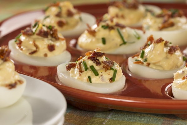 Bacon and Cheddar Deviled Eggs | mrfood.com