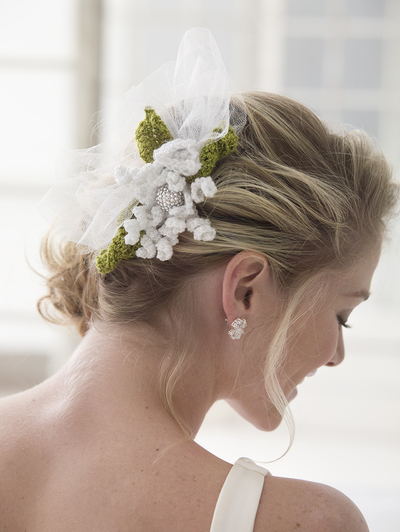 Crochet Hair For Wedding : Exquisite Crochet Flower Hair Slide AllFreeDIYWeddings.com