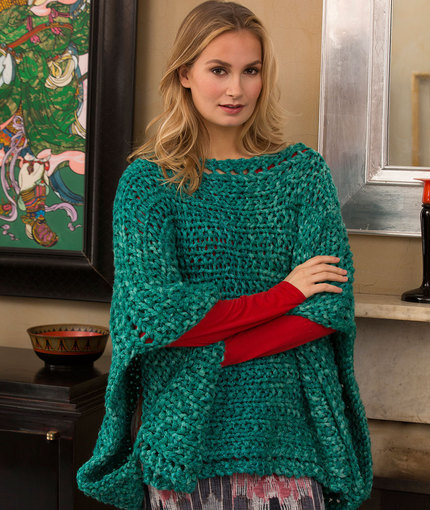 Poncho Knitting Patterns For Beginners : Shimmering Jade Knit Poncho AllFreeKnitting.com