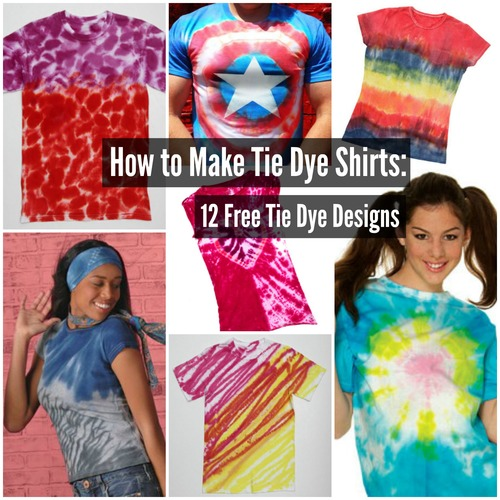 How to Make Tie Dye Shirts: 12 Free Tie Dye Designs