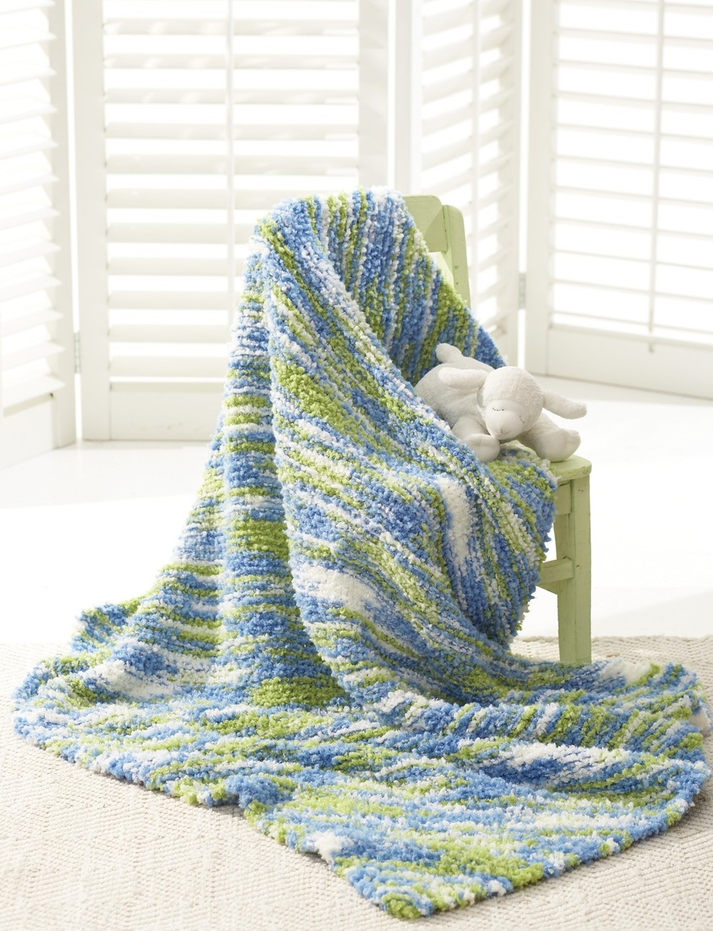 Bernat Baby Blanket Knitting Patterns : The Land and the Sea Baby Blanket AllFreeKnitting.com