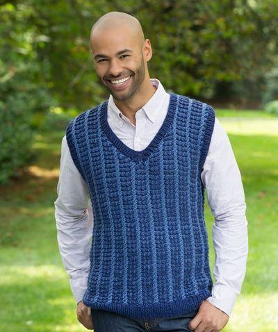 Mens Knitted Vest Pattern : Mens Studious Knit Sweatervest AllFreeKnitting.com