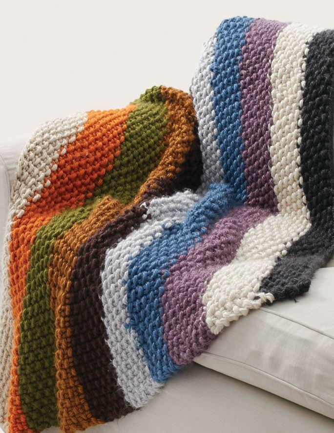 Bulky Knit Afghan Patterns : Simple Striped Seed Stitch Afghan AllFreeKnitting.com