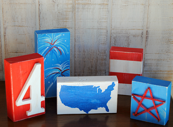 Decorative wooden block fourth of july craft for Large wooden blocks for crafts