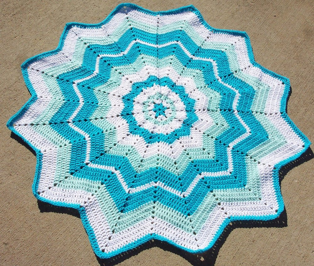 Crochet Pattern For Chevron Baby Afghan : Beginners Round Ripple AllFreeCrochetAfghanPatterns.com