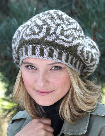 Knitting Patterns For Berets And Hats : Celtic Beauty Beret Hat AllFreeKnitting.com