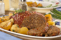 Slow Cooked Meat Loaf and Potatoes