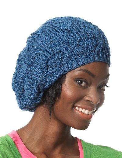 Knit Beret Patterns : Lace Slouchy Summer Beret AllFreeKnitting.com
