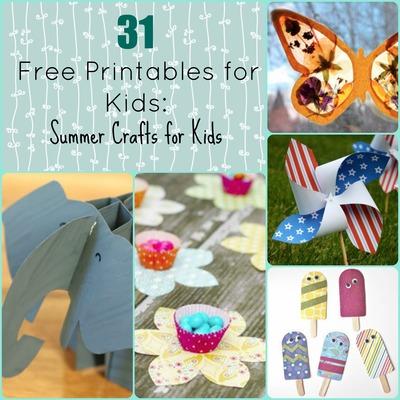 31 Free Printables for Kids: Summer Crafts for Kids