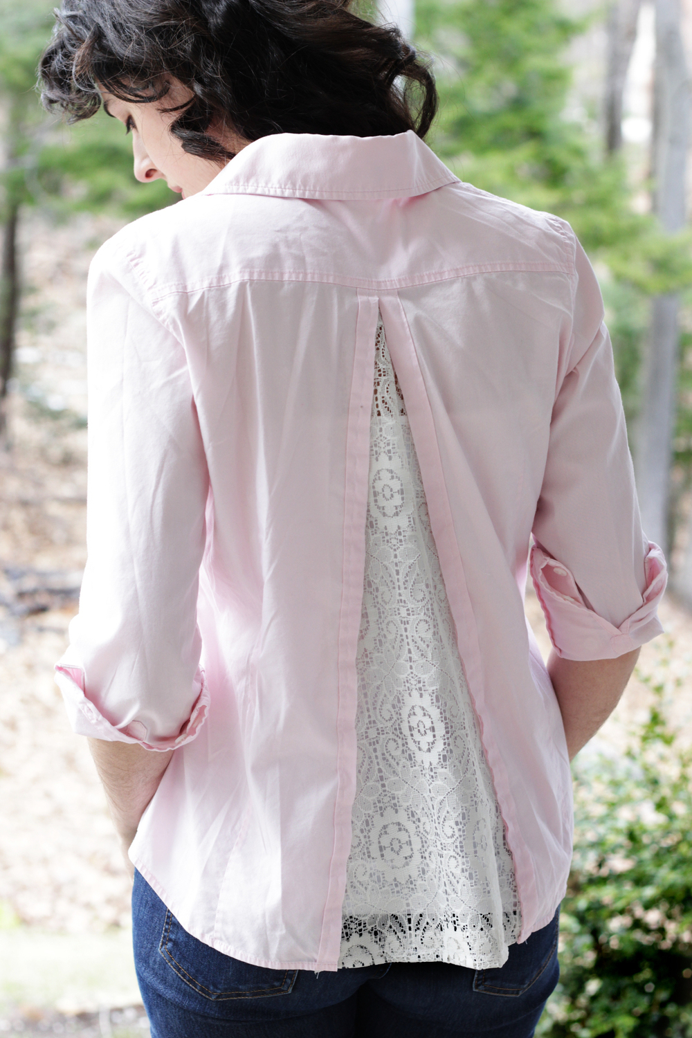 diy lace insert button down shirt