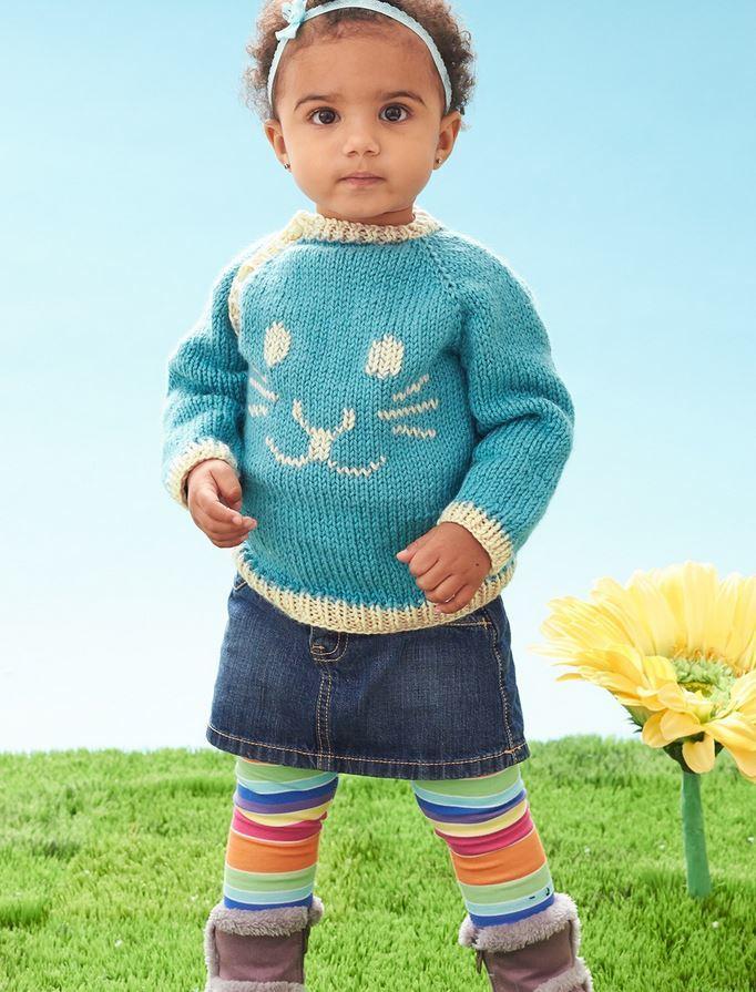 Knit Rabbit Sweater Pattern : Snuggle bunny baby sweater allfreeknitting