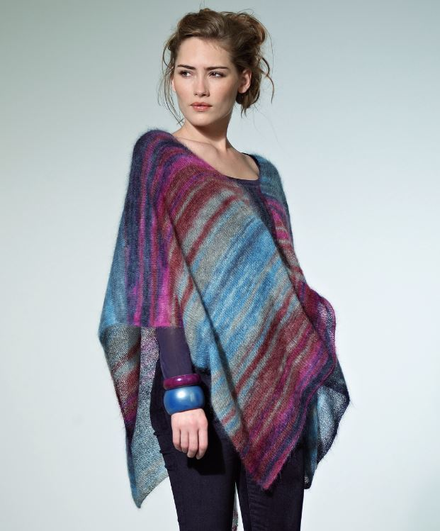 Knitting Pattern For Lace Poncho : Tranquil Dusk Poncho AllFreeKnitting.com