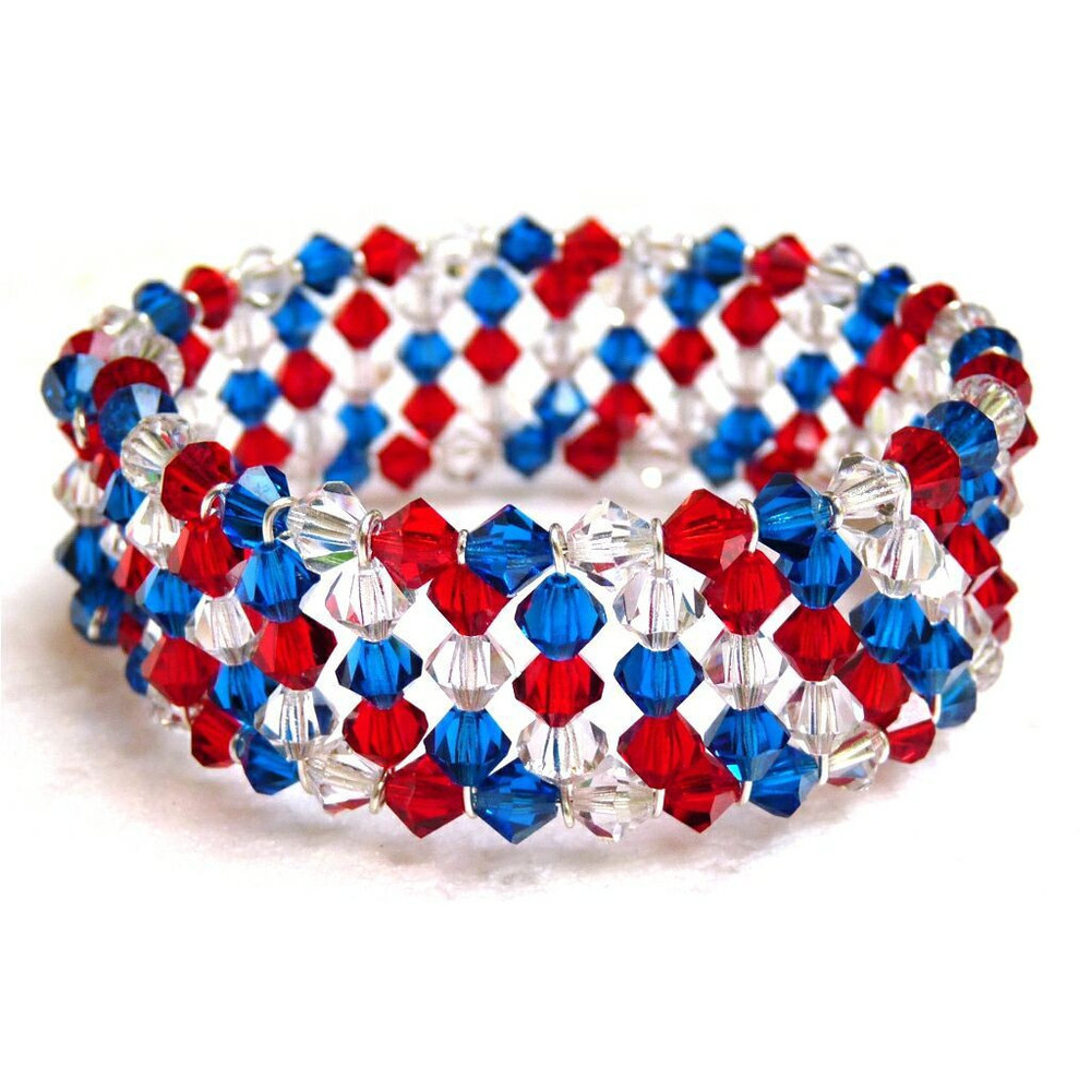 Patriotic crystal memory wire bracelet for Patriotic beaded jewelry patterns