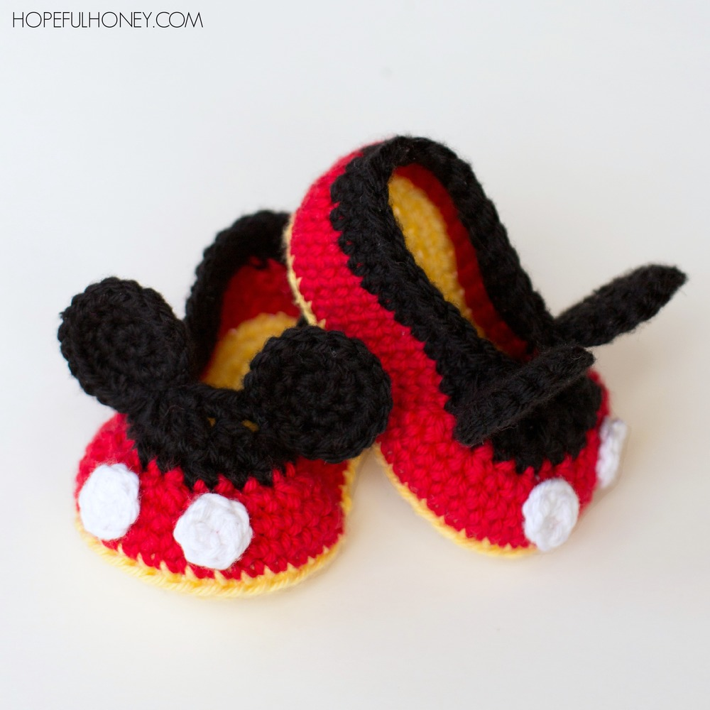 Free Crochet Pattern For Dog Shoes : Mickey Mouse Inspired Baby Booties AllFreeCrochet.com