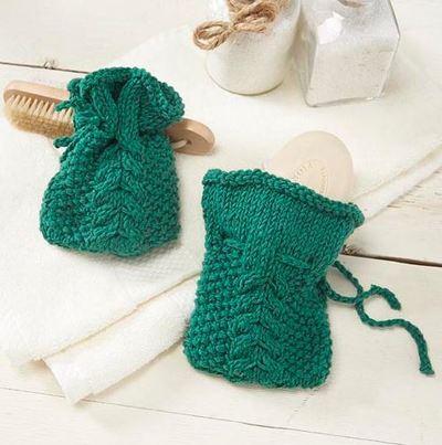 Knitted Sachet Pattern : Cable Knit Soap Sachet AllFreeKnitting.com