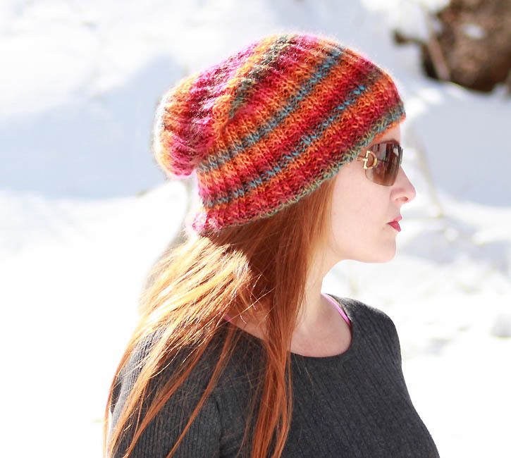 Knitting Patterns For Beginners Beanie : Sherbert Beanie Slouch Hat AllFreeKnitting.com