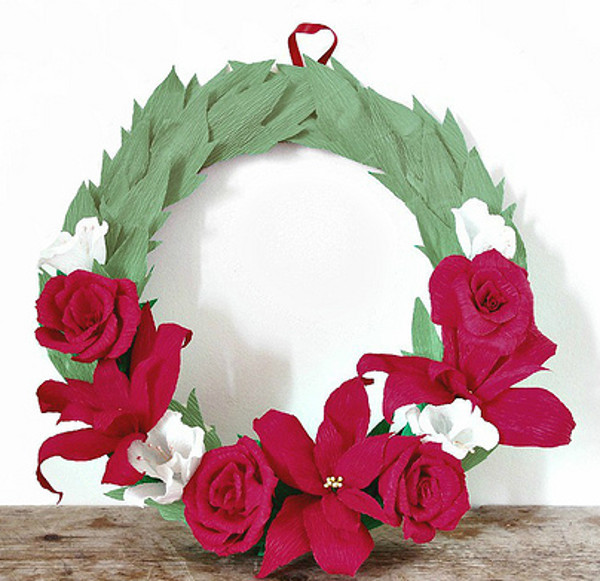 Gorgeous Crepe Paper Holiday Wreath