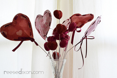 Valentines Paper and Styrofoam Heart Bouquet