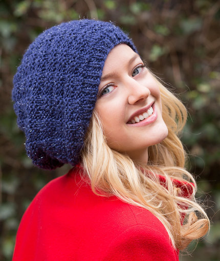 How To Loom Knit Slouchy Beanie Basketweave : Basketweave sparkle knit beanie pattern allfreeknitting