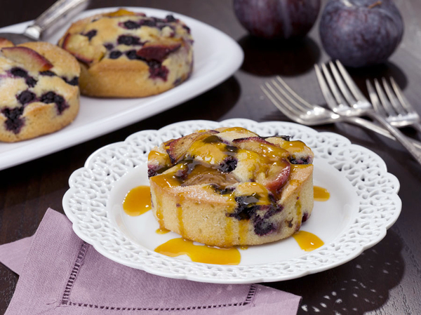 Blueberry and Plum Cornmeal Cakes | MrFood.com