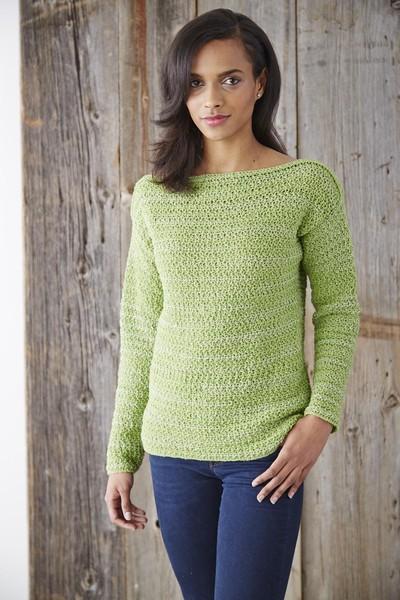 Boat Neck Pullover Sweater AllFreeCrochet.com