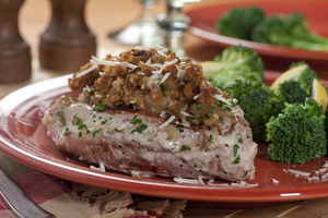 Caesar Stuffed Pork Chops