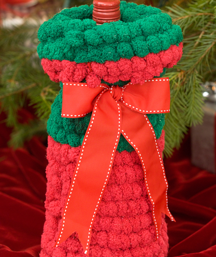Crochet Patterns Jug Covers : Crochet Christmas Bottle Cover AllFreeCrochet.com