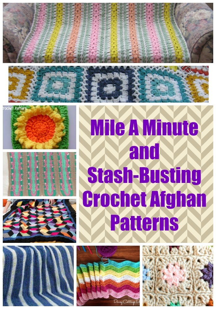 Crochet Stitches Mile A Minute : 15 Mile A Minute and Stash-Busting Crochet Afghan Patterns ...