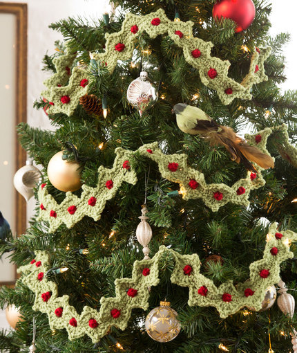 Crochet Christmas Tree Garland | AllFreeCrochet.com