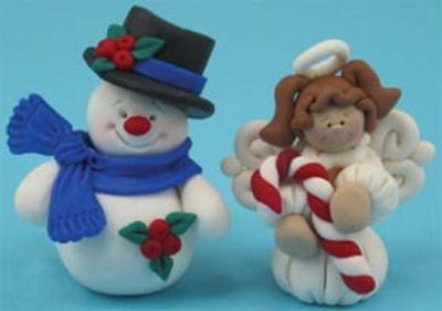 Polymer Clay Snowman and Angel Ornaments