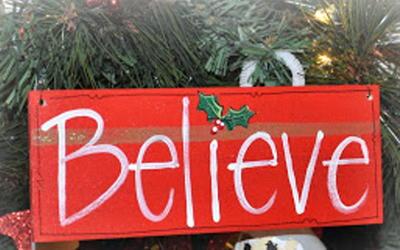 Wooden BELIEVE Sign