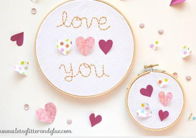 DIY Valentines Day Hoop Art