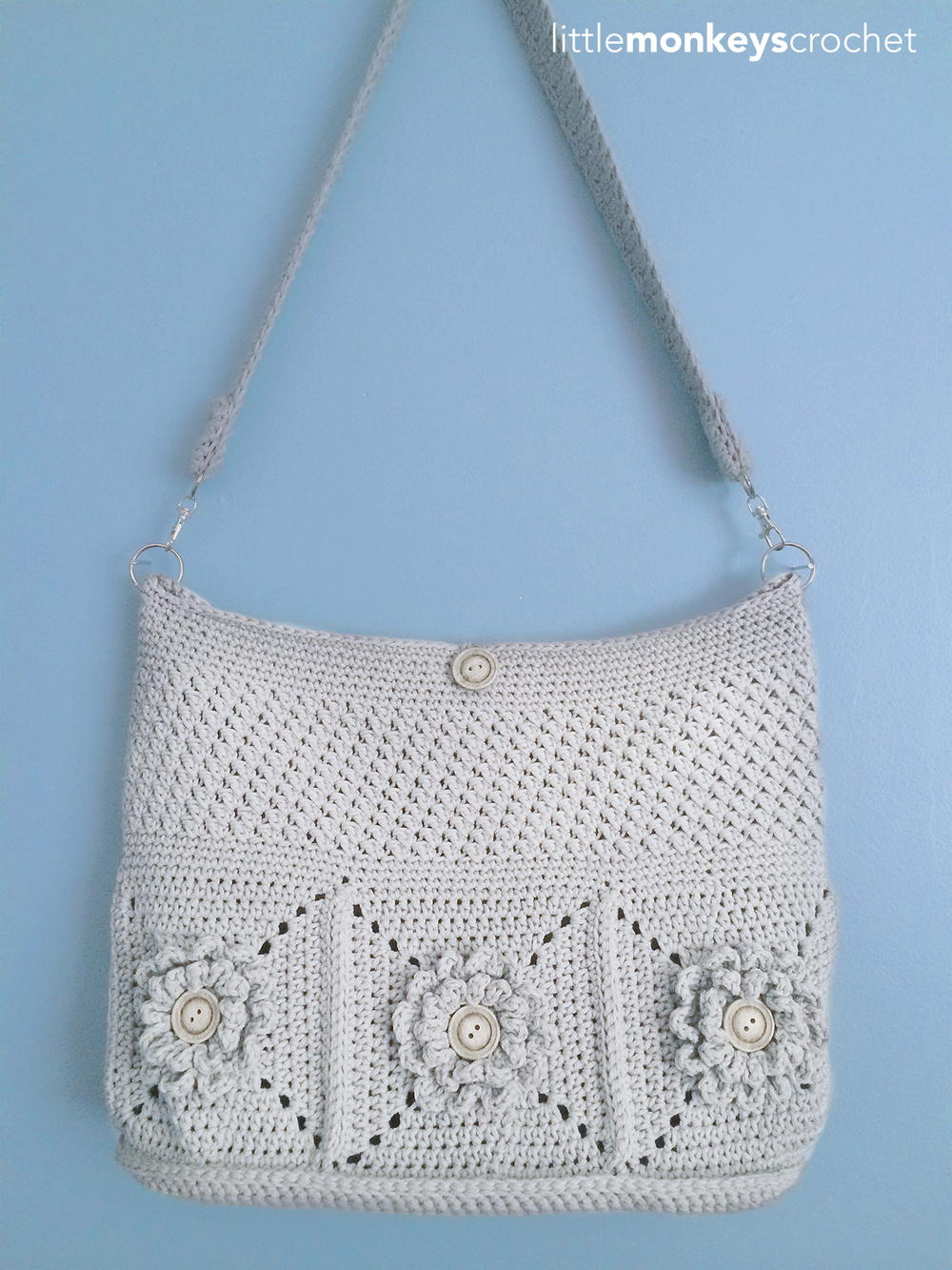 Crochet Shoulder Bag Pattern Free : Wildflower Shoulder Crochet Bag AllFreeCrochet.com