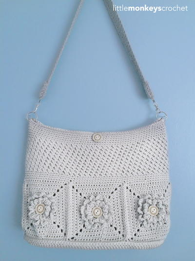 Crochet Net Bag : Wildflower Shoulder Crochet Bag AllFreeCrochet.com